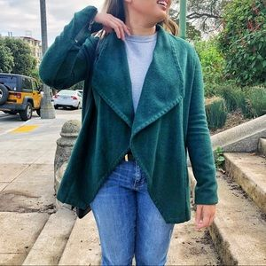 Dark green waterfall coat fully lined